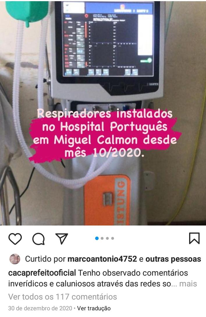 Miguel Calmon: Prefeito Caca desmente o ex-vereador jacobinense Ramon Santos. Respiradores estão funcionando