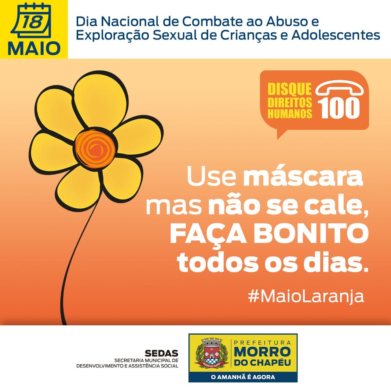 Maio Laranja: Prefeitura de Morro do Chapéu promove campanha  combate  à exploração e abuso sexual  de crianças e adolescentes